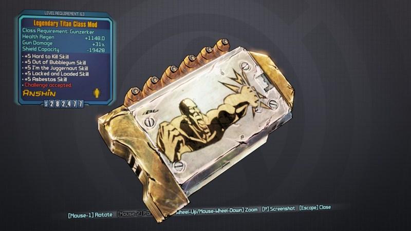 Legendary Titan Class Mod - Borderlands 2