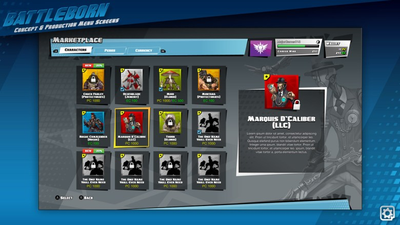 Here we see an early character select screen. It has the a more comic book look and feel to it. Since there probably were no official character renders all the images of the heroes are from the concept art. Since Battleborn was planned to be a F2P game you can see things like PC (Paid Currency) and EC (Earned Currency).
