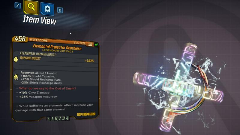 Borderlands 3 Legendary Eridian Artifact - Deathless
