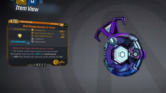 Borderlands 3 Legendary Anshin Shield - Scream of Terror
