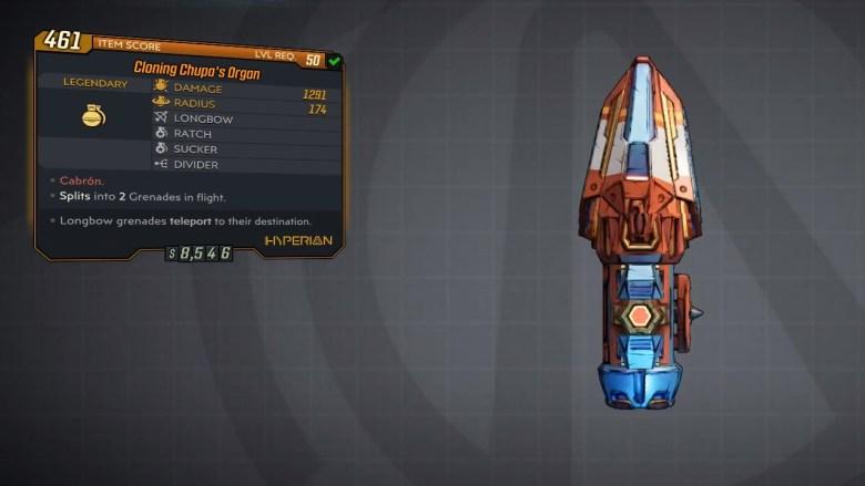 Borderlands 3 Legendary Hyperion Grenade Mod - Chupas Organ