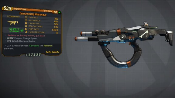 Borderlands 3 Legendary Maliwan SMG - Westergun
