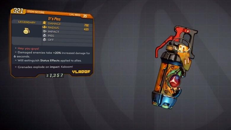 Borderlands 3 Legendary Vladof Grenade Mod - It's Piss