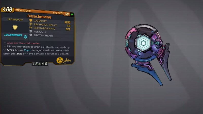 Borderlands 3 Legendary Anshin Shield - Frozen Snowshoe