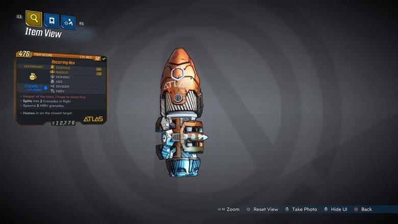 Borderlands 3 Legendary Atlas Grenade Mod - Hex