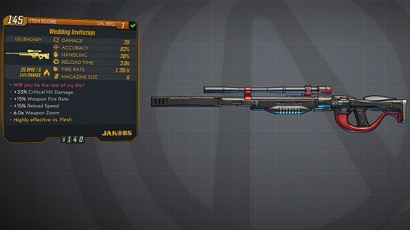 Borderlands 3 Legendary Jakobs Sniper Rifle - Wedding Invitation