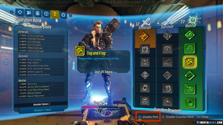How to disable Perks in Guardian Rank - Borderlands 3