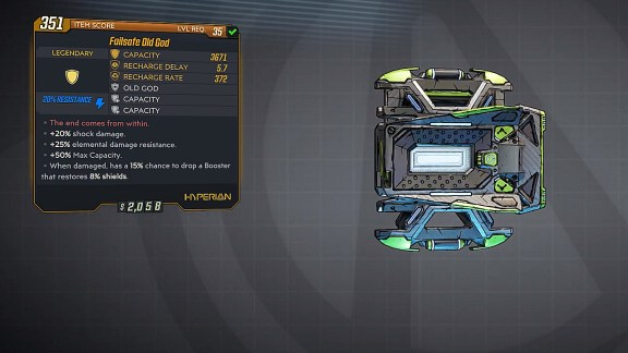 Borderlands 3 Legendary Hyperion Shield - Old God