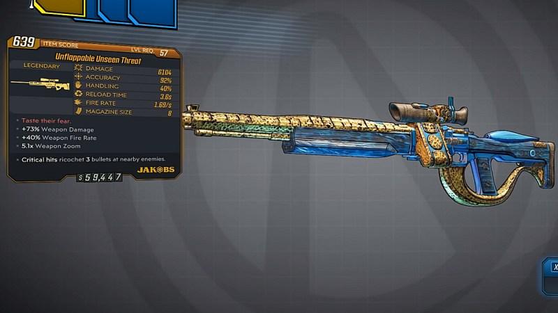 Borderlands 3 Legendary Jakobs Sniper Rifle - Unseen Threat