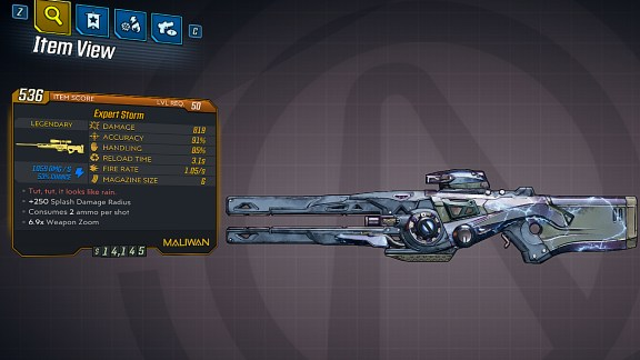 Borderlands 3 Legendary Maliwan Sniper Rifle - Storm