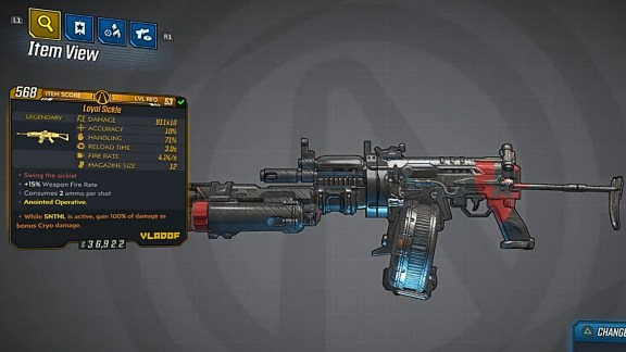Borderlands 3 Legendary Vladof Assault Rifle - Sickle