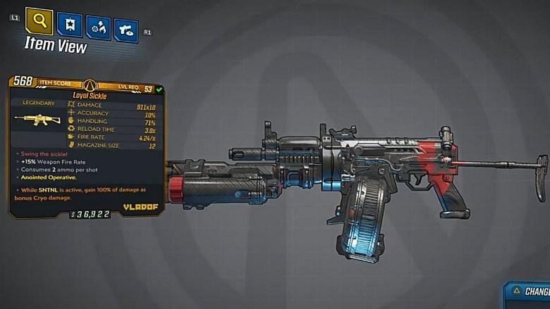 Borderlands 3 Legendary Vladof Assault Rifle - Sickle