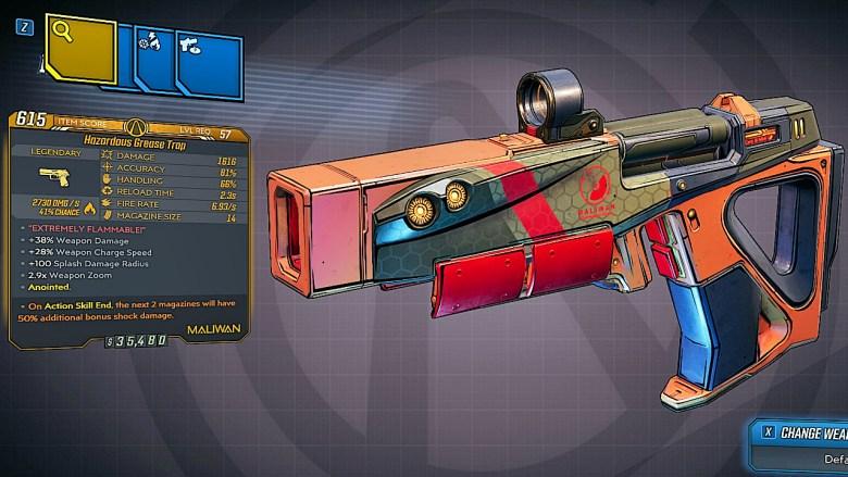 Borderlands 3 Legendary Maliwan Pistol - Grease Trap