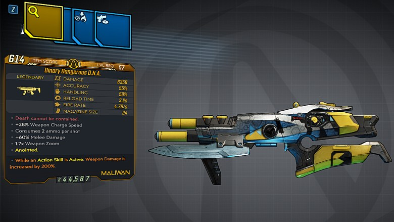 Borderlands 3 Legendary Maliwan SMG - DNA