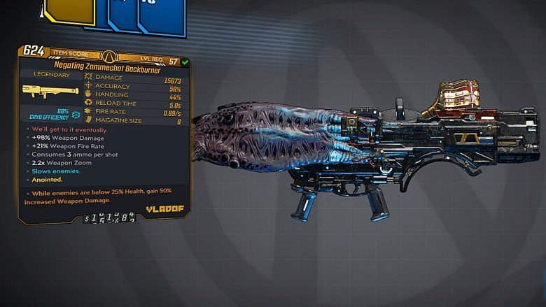 Borderlands 3 Legendary Vladof Rocket Launcher - Backburner