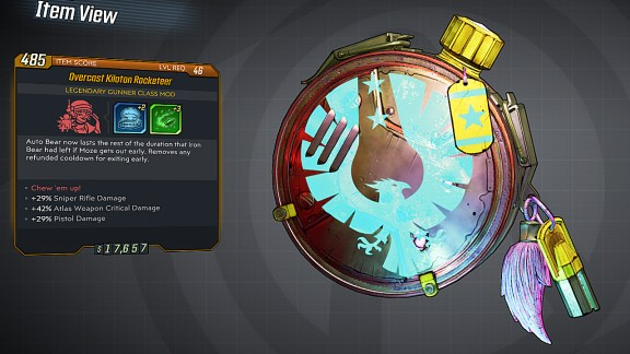 Borderlands 3 Legendary Gunner Class Mod - Rocketeer