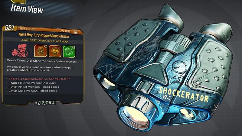 Borderlands 3 Legendary Operative Class Mod - Shockerator