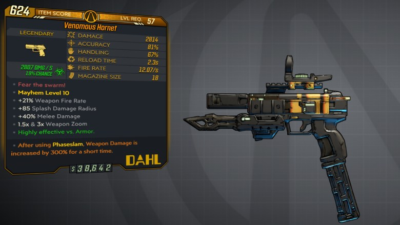 Borderlands 3 Legendary Dahl Pistol - Hornet