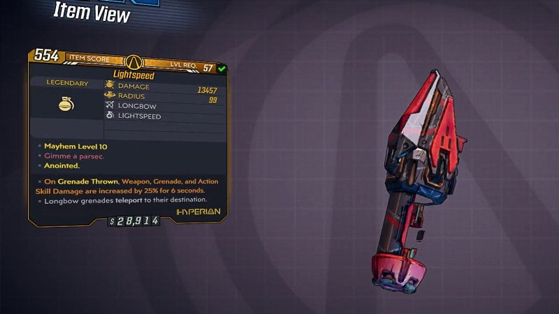 Borderlands 3 Legendary Hyperion Grenade Mod - Lightspeed