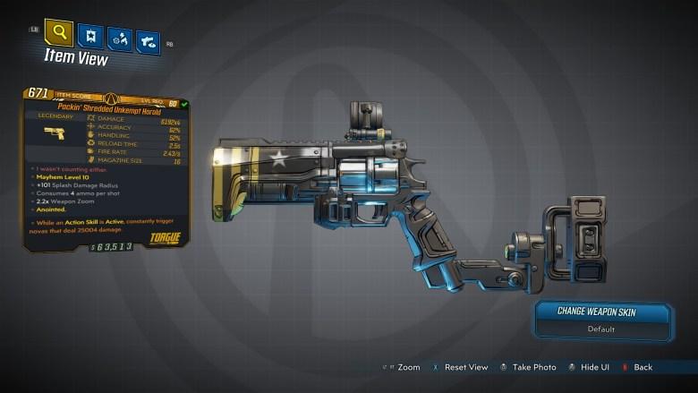 Borderlands 3 Legendary Torgue Pistol - Unkempt Harold