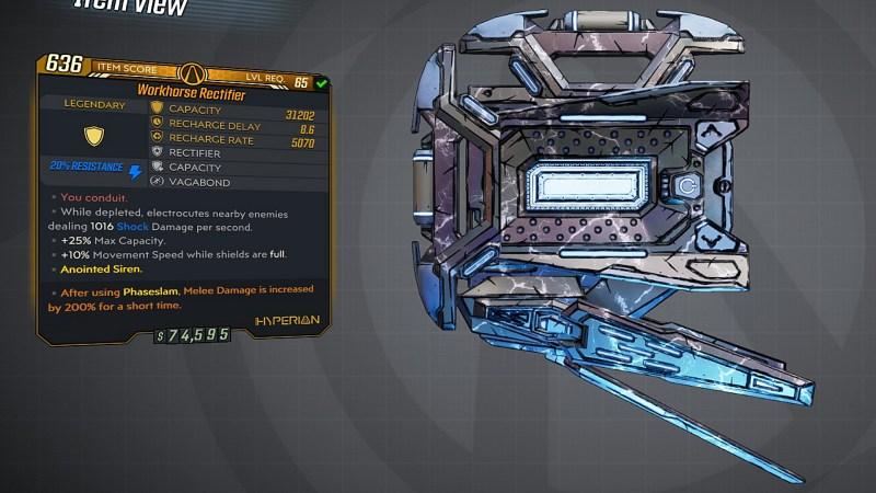 Borderlands 3 Legendary Hyperion Shield - Rectifier