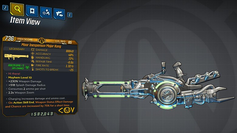 Borderlands 3 Legendary COV Rocket Launcher - Major Kong