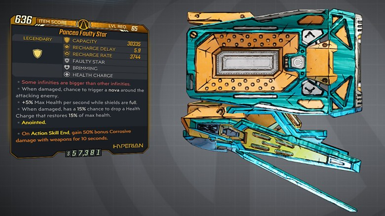 Borderlands 3 Legendary Hyperion Shield - Faulty Star