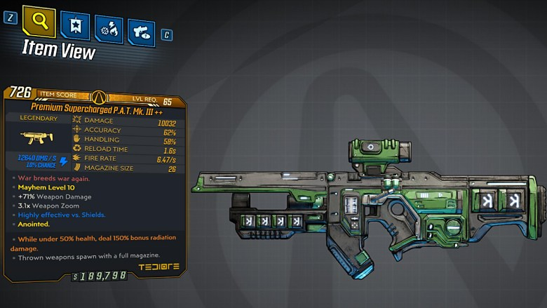 Borderlands 3 Legendary Tediore SMG - P.A.T. Mk. III