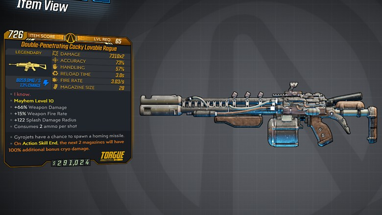 Borderlands 3 Legendary Torgue Assault Rifle - Lovable Rogue