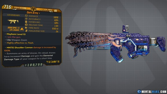 Borderlands 3 Legendary Tediore SMG - Dark Army