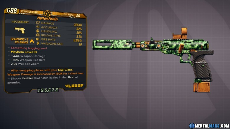 Borderlands 3 Legendary Vladof Pistol - Firefly