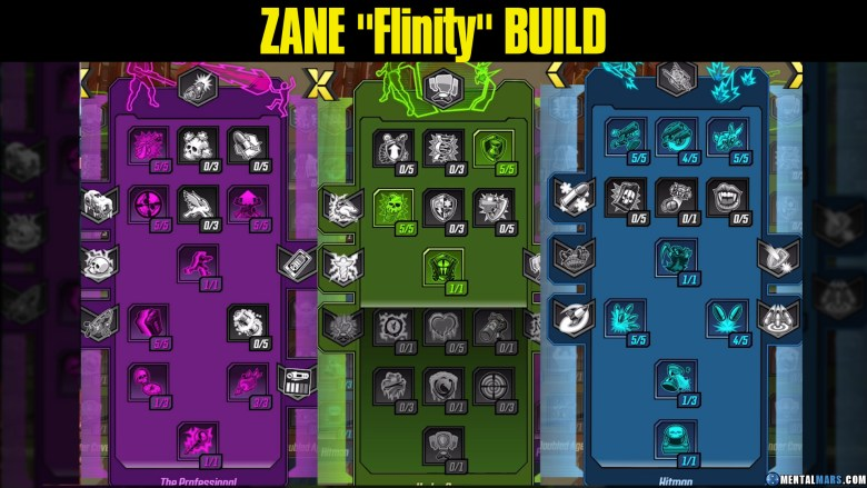 Zane 'Flinity' Build Skill Tree - Borderlands 3