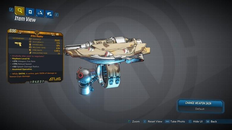 Borderlands 3 Legendary Atlas Pistol - Atlas Replay