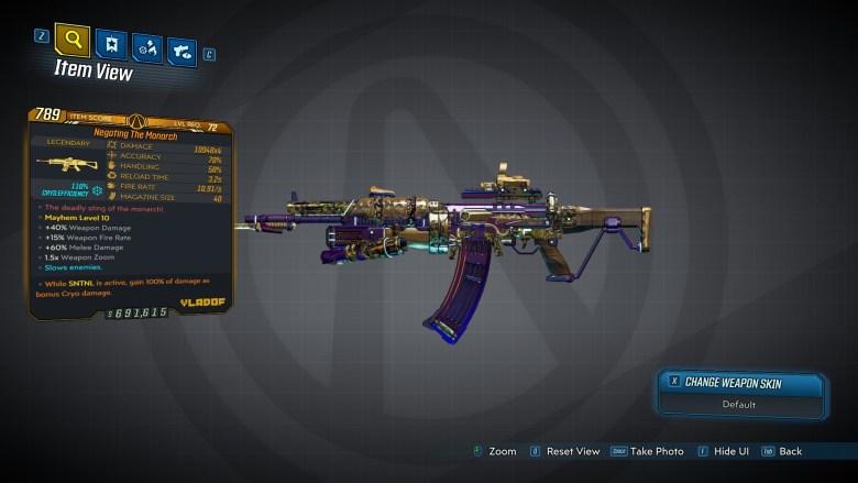 Borderlands 3 Legendary Vladof Assault Rifle - The Monarch - LVL72