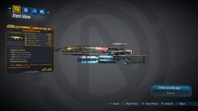 Borderlands 3 Legendary Atlas Assault Rifle - Carrier - LVL72