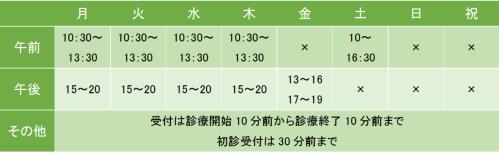 五反田駅前メンタルクリニックの診療時間