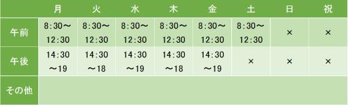 横山クリニックの診療時間