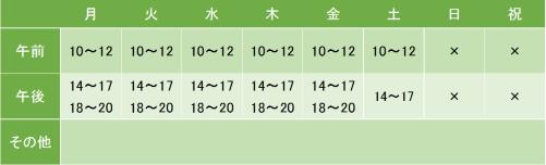 新大塚榎本クリニックの診療時間