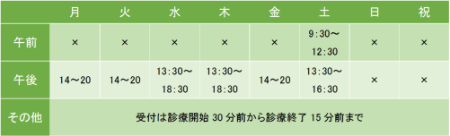 大井町こころのクリニックの診療時間