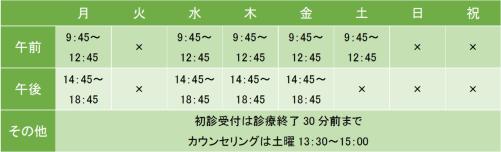 横倉クリニックの診療時間