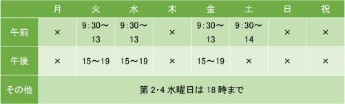 町田こころのクリニックの診療時間