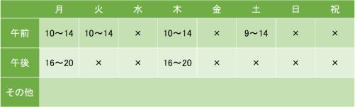 大井町メンタルクリニックの診療時間