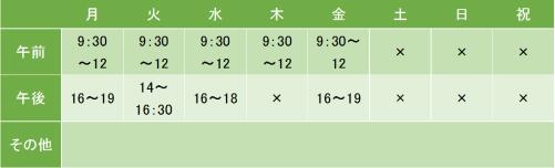 浜田クリニックの診療時間