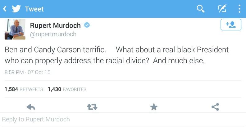 rupert murdoch calls ben carson a real black president