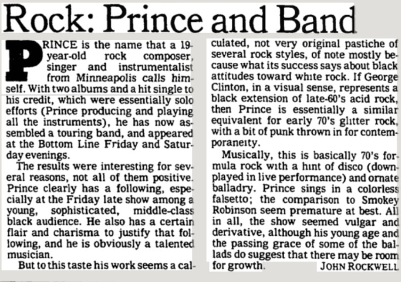 ny times review of first prince concert in nyc said vulgar and derivative