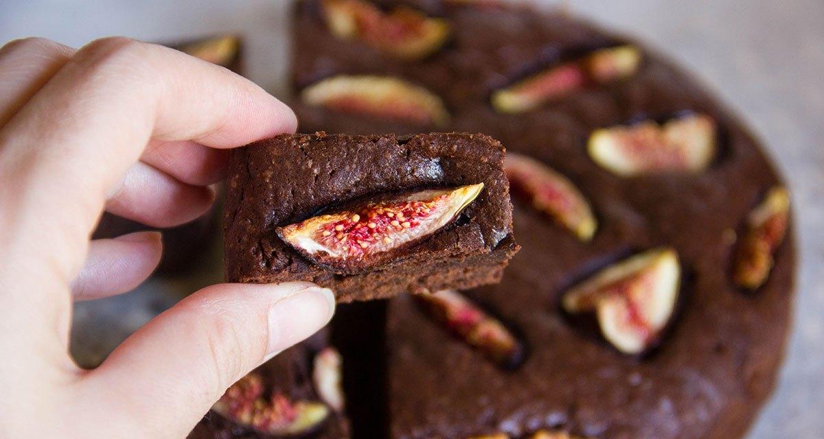 Brownies al doppio cioccolato e fichi