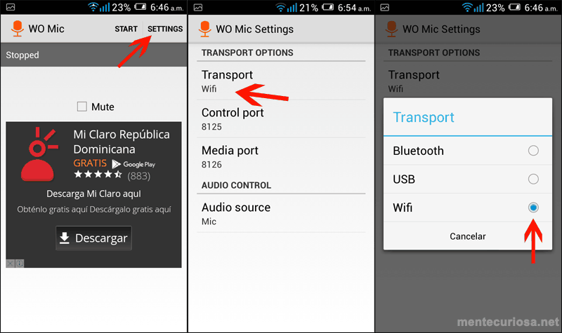 usar microfono por wifi pc android