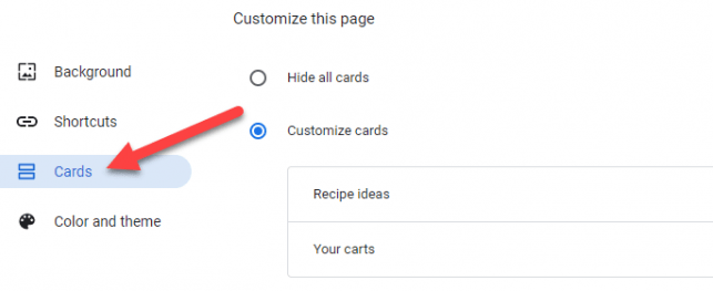 """Select """"Cards"""" from the menu."""