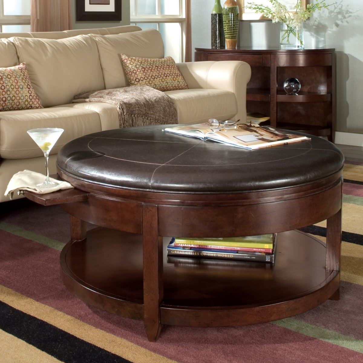 Round Brown Leather Ottoman Coffee Table