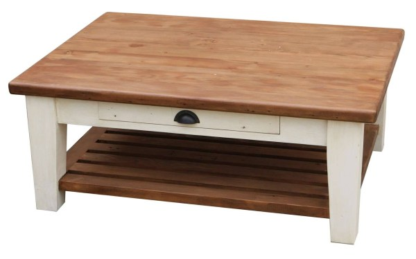 White Wood Coffee Table With Drawers